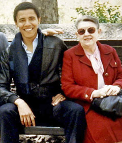Pictured: Barrack Obama and his Grandmother, Madelyn Dunham. Madeline Dunham was a volunteer at the Oahu Circuit Court probate department and had access to the Social Security numbers of deceased people.