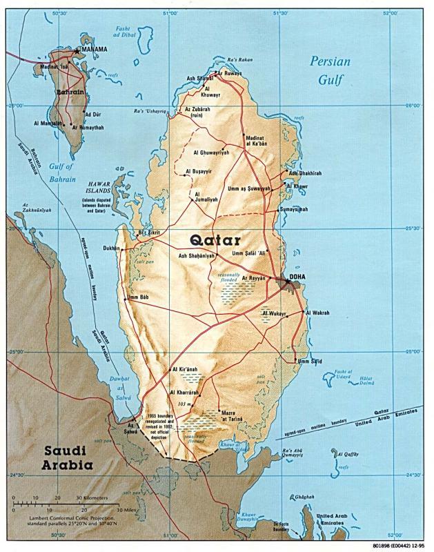 "Political Map Of Qatar. partnership"" with Qatar,"