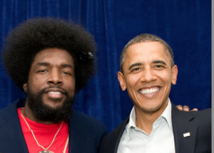 Ahmir Questlove Thompson with Obama 300x215 Drummer who chose Bachmann B*tch Song is Obama Supporter, calls song, Perfect Entry Song for Her
