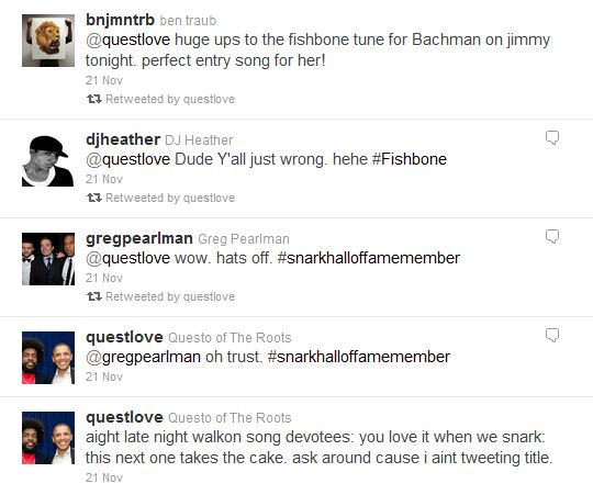 Questlove Twitter Drummer who chose Bachmann B*tch Song is Obama Supporter, calls song, Perfect Entry Song for Her
