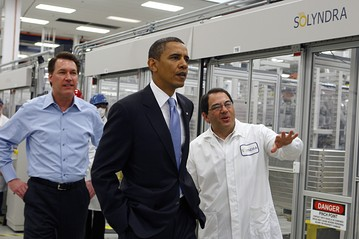 Obama on a tour of the Solyndra Plant