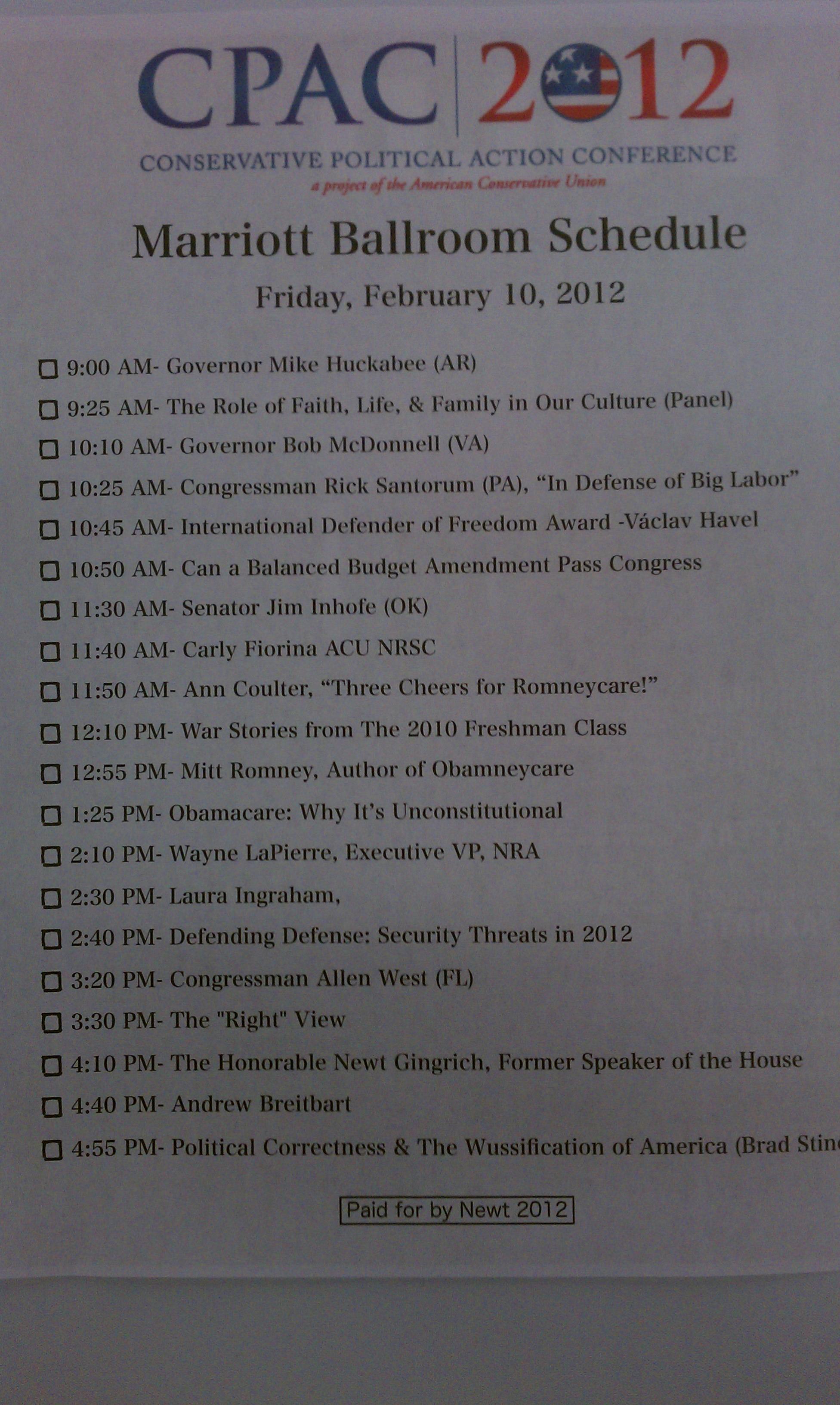 Newt Gingrich CPAC Schedule