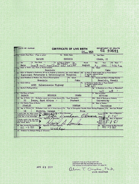 Obama birth certificate SC The good virgin's birther case