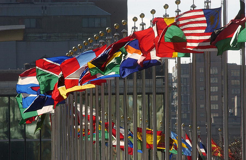 United Nations flags SC UN, World Win US Election; Americans Big Losers