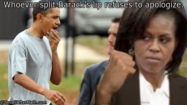 Whoever Split Baracks Lip Michelle Obama SC Barack and Michelle cost FAR more in upkeep than Britain's royals!