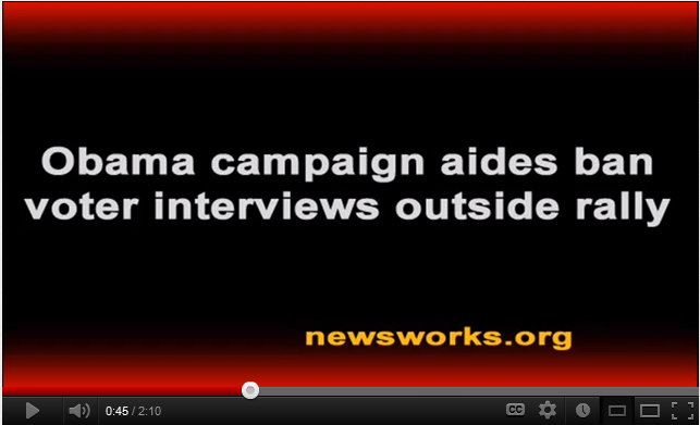 ocampaign Obama campaign aides ban voter interviews outside rally