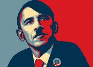 obama hitler 300x215 Middle School to Students: Be a servant to Obama