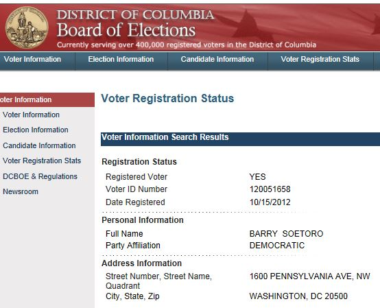 Capture2 Obama Alias Barry Soetoro Registered To Vote At White House Address