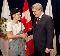 Justin Bieber Accepts Medal from Canadian Prime Minister SC