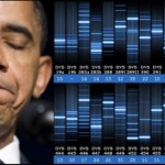 Obama eyes closed sad with DNA bars