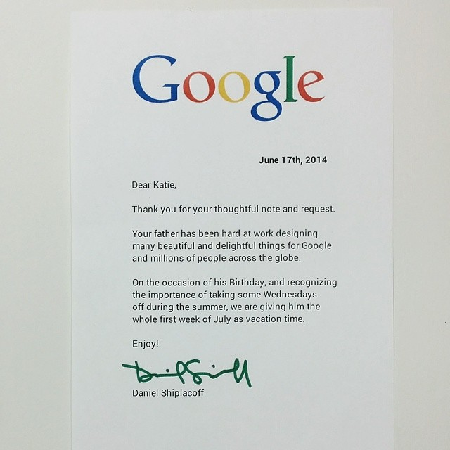 Google Employee's Daughter Writes a Touching Letter To His Boss; The ...