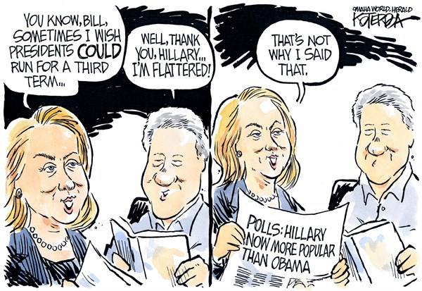 "Jeff Koterba cartoon for August 7, 2014""Clinton Hillary Obama campaign"""