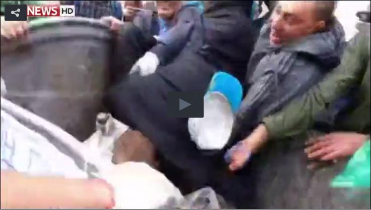 Ukrainian in dumpster
