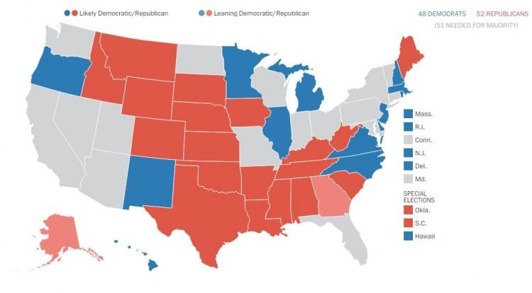 Photo: The Washington Post's Election Lab.  95 Percent Chance The GOP Reclaims The Senate