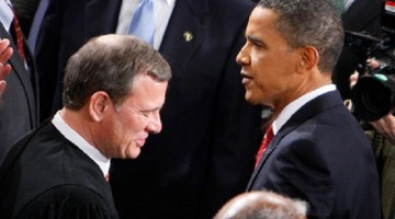 Chief Justice John Roberts with Barack Obama before the president's state of the union address