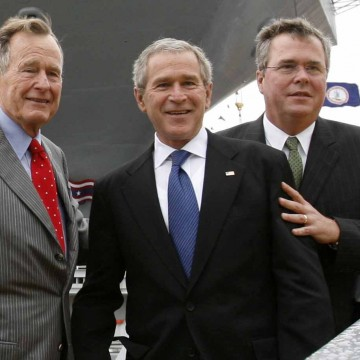 Former President Bush, President Bush and Governor Bush depart the christening ceremony of the USS George H.W. Bush in Virginia