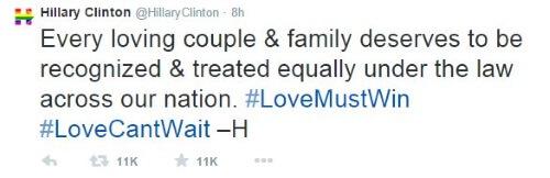 Clinton - Tweet Gay Marriage