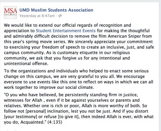 After Muslim Students Protest, Univ. of Maryland Cancels Screening Of 'American Sniper'