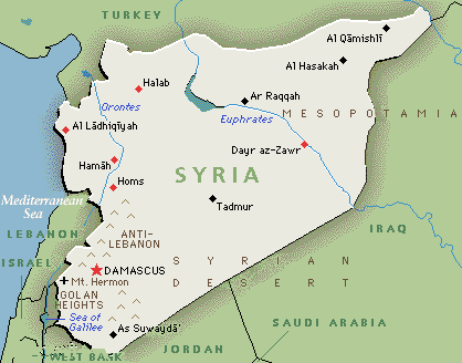 Map of Syria showing As-Suweida province, Golan Heights and Palmyra (Tadmur)