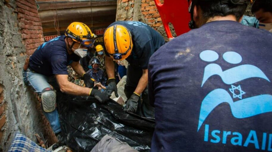 IsraAID workers search rubble after Nepal Earthquake