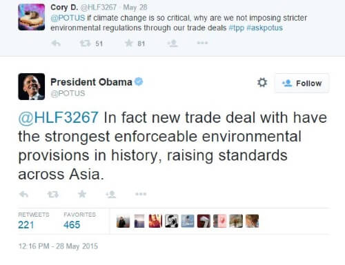 Twiiter - Obama TPP and Climate Change