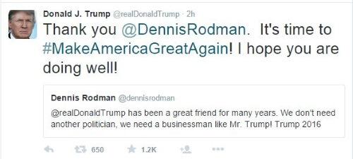 Donald Trump - Dennis Rodman - Tweet