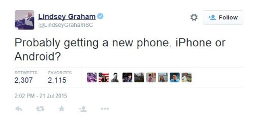 Lindsey Graham Phone Tweet