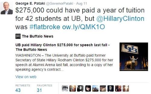 George Pataki Twitter Clinton