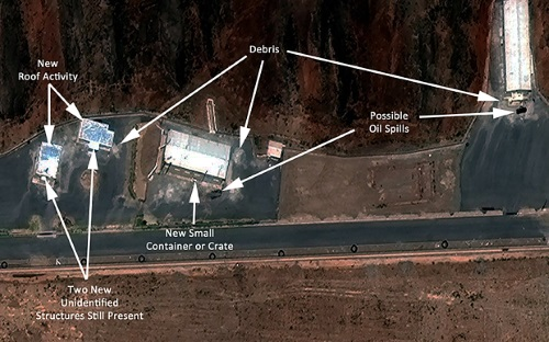PARCHIN MILITARY COMPLEX, IRAN - JULY 26, 2015:  Institute for Science and International Security analysis using DigitalGlobe imagery is showing renewed activity at a site at the Parchin military complex that has been linked to high explosive work related to the development of nuclear weapons.  Photo DigitalGlobe/ISIS via Getty Images.