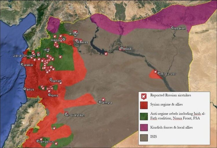 Map Russian airstrikes in Syria