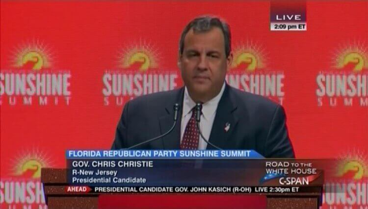 New Jersey Gov. Chris Christie at the Sunshine Summit in Orlando, Fla.