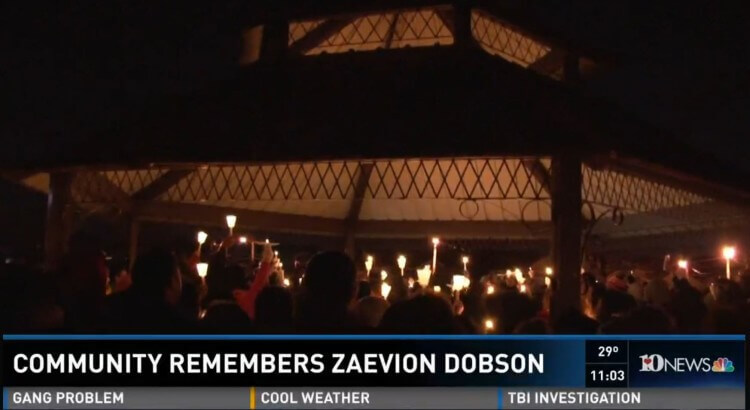 Hundreds come out in remembrance of Zaevion Dobson. Image Credit: WBIR-TV Video Screenshot