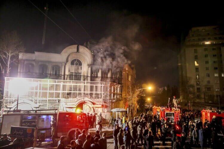 Saudi Embassy Tehran on fire