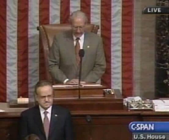 Estwani delivering Muslim prayer on House floor on February 7, 2001.