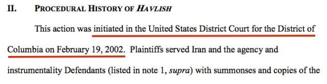 Havlish v. Iran begun in 2002.