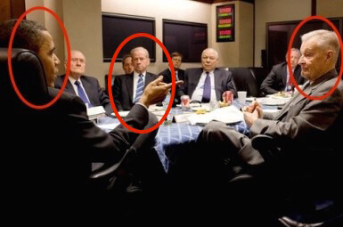 Obama and Brzezinski in Situation Room (former Nat'l Security Advisor for Reagan Robert McFarlane in background)