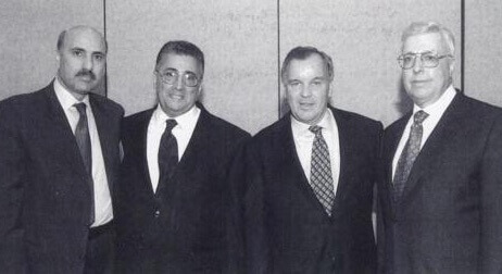 Rezko (far left); Chicago Mayor Richard Daley (second from right) and Othman (far right) circa 1999.