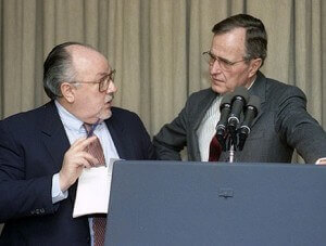 Ailes (L) and George H.W. Bush (R) in earlier days.
