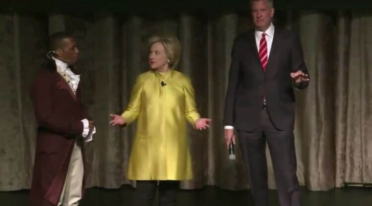 Clinton and de Blasio at the Inner Circle Dinner. Image Credit: Video Screenshot