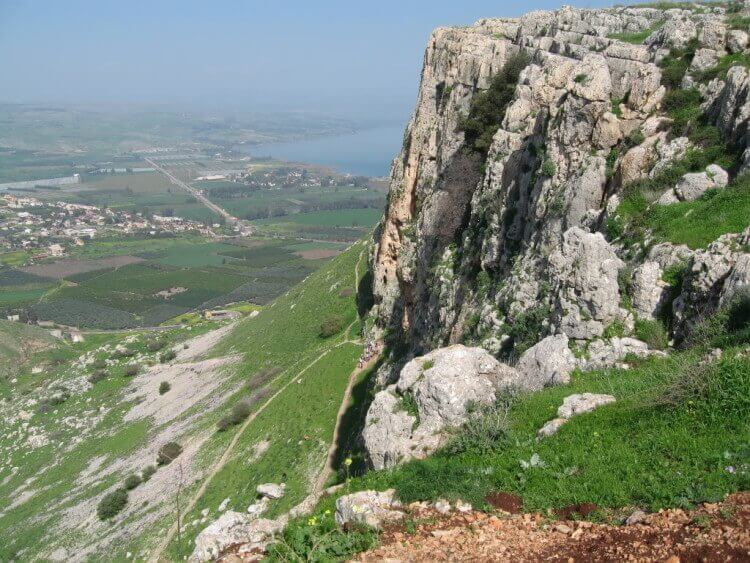 View on Mount Arbel, Migdal is visible at the foot of the mountain