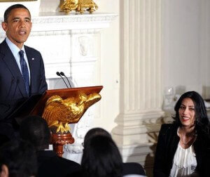 Obama defends Abedin at White House in response to Bachmann's concerns about Abedin's Muslim Brotherhood connections.