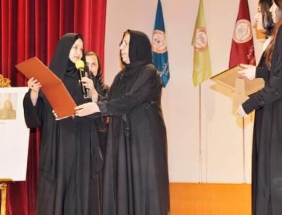 Saleha Abedin honored by Dar al-Hekma in Saudi Arabia in 2015.