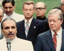 Zia al-Haq (L), Brzezinski (C) and Jimmy Carter (R) circa 1979.