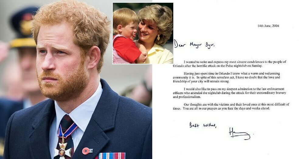 Prince Harry Writes Letter To Orlando After Nightclub Attack