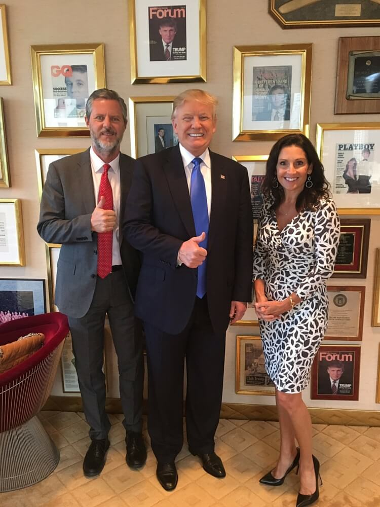 Jerry Falwell Jr. and wife Becki with Donald Trump