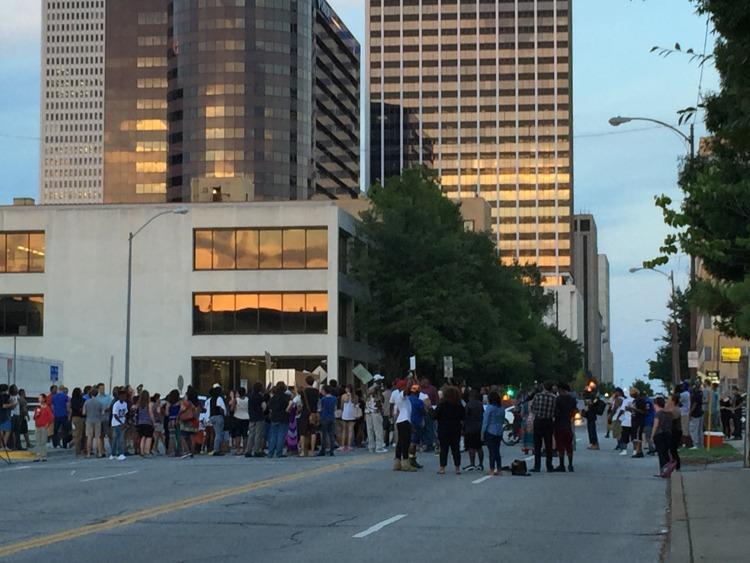 Demonstrators protest the killing of Terrence Crutcher on Sept. 20 in Tulsa, OK
