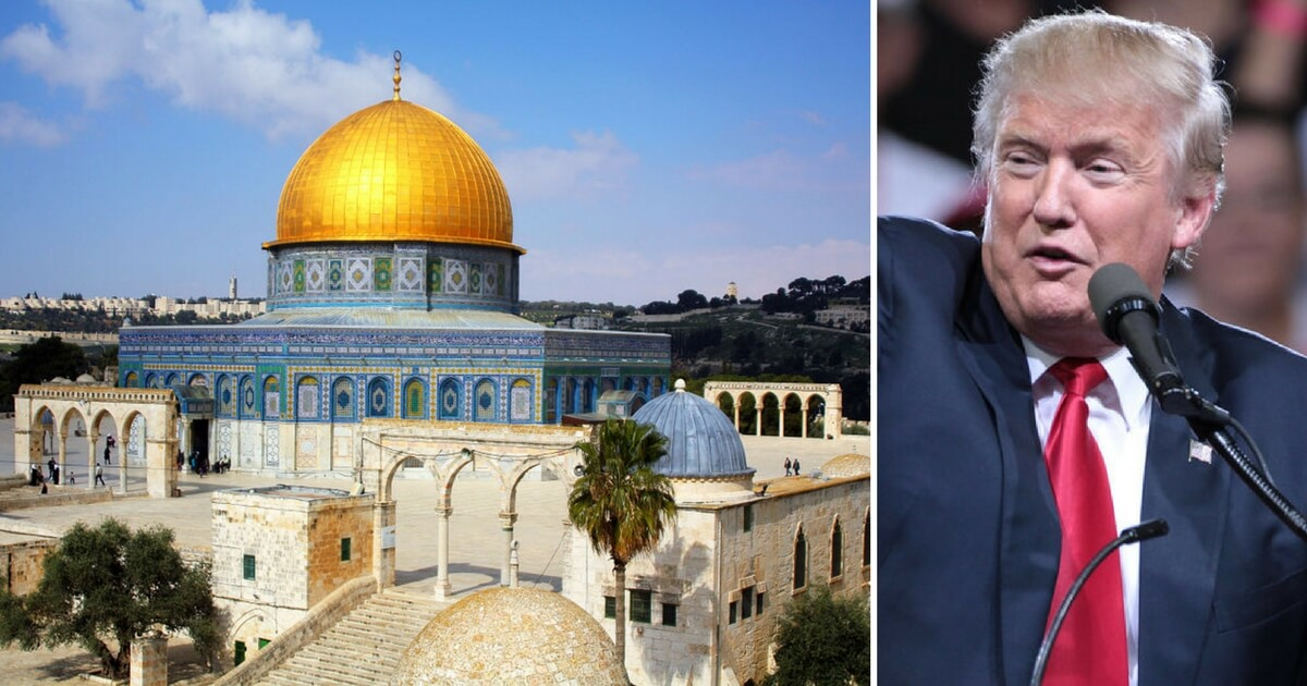 Dome of the Rock in Jerusalem and President Donald Trump