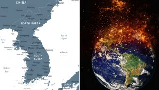 Korean Peninsula and burning Earth