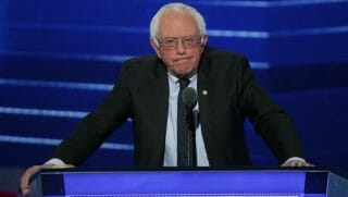 PHILADELPHIA, PA - JULY 25: Sen. Bernie Sanders (I-VT) delivers remarks on the first day of the Democratic National Convention at the Wells Fargo Center, July 25, 2016 in Philadelphia, Pennsylvania. An estimated 50,000 people are expected in Philadelphia, including hundreds of protesters and members of the media. The four-day Democratic National Convention kicked off July 25.