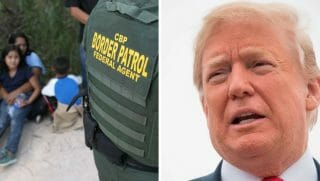 Left: Central American asylum seekers wait as U.S. Border Patrol agents take them into custody on June 12, 2018, near McAllen, Texas. Right:President Donald Trump talks to the press before boarding Air Force One at Andrews Air Force Base, Maryland, on May 31, 2018.